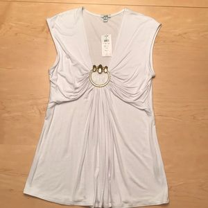Cache White Tunic with Gold Metal Ring Sz M